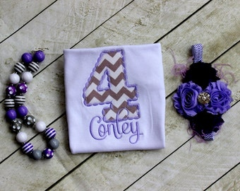birthday number shirt purple and gray chevron birthday clothing personalized applique first birthday toddler birthday shirt