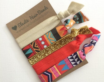 Hair Ties OR Headbands // The Tori  Collection - Ponytail Holder - Print Glitter Aztec - Hair Bands -Headbands