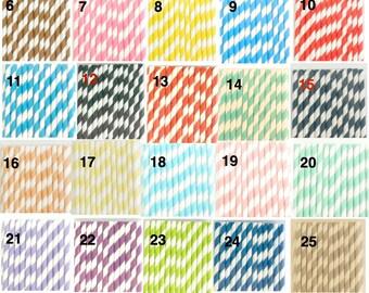 "50 ""Pick Your Color(s)""  / Paper Drinking Straws / Mason Jar Straws /Cake Pop Sticks / Weddings, Birthdays, Anniversaries"