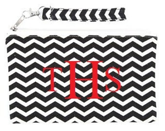 Large Canvas with black Chevron Wristlet Monogram with any thread color :)