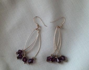 Silver Earrings Amethyst Earrings Wire Earrings Dark Purple Earrings Gemstone Earrings Dangle Earrings Purple Earrings February Birthstone