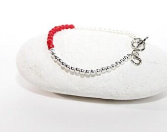 Horseshoe Silver Beads Bracelet