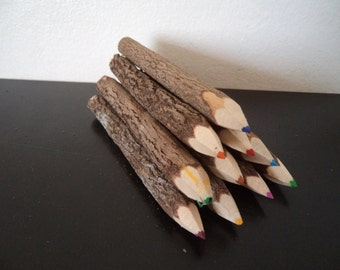 10 Assorted Tamarind Wooden Colored Pencils