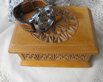 Wood watch box, watch box with carving, carved watch case, carved watch box, watch storage, wooden watch box