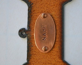 Rustic Rusty Rusted Recycled Metal CUSTOM Personalized DOG BONE Ornament or Magnet