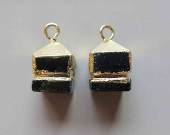 Black Agate Cube Pendant with Golden Edge - B1077
