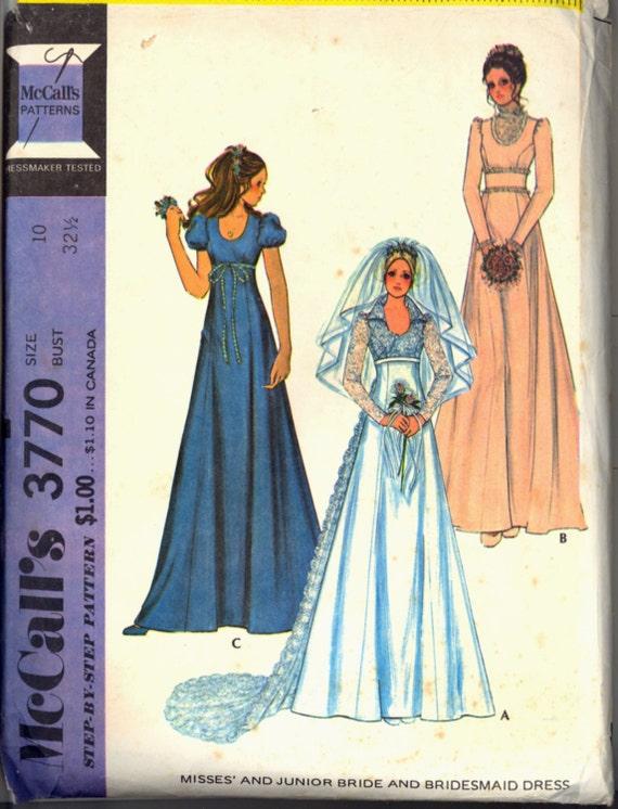 1970s train empire waist wedding gown bridal dress mccalls for Empire waist wedding dress patterns