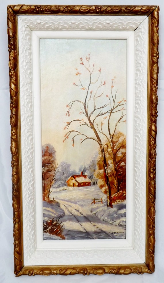 Winter Landscape Oil Painting - Vintage Winterscene Cabin in the Woods in an Antique Gesso Frame Blue Beige Brown Gold White