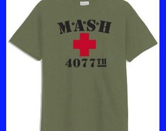 MASH 4077th Red Cross Military Green T-Shirt