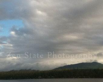 Lake and Mountains Landscape Print. Cloud Photography. Wall Art. Photo Print, Framed Print, or Canvas Print. Home Decor. iPhoneography.