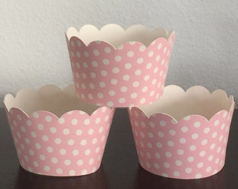 12 Cupcake Wrappers - Light Pink w/ White Polka Dots