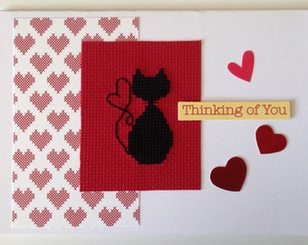 Thinking of you cat cross stitch card