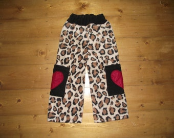 Toddler fleece trousers longies in Rockabilly leopard print with hearts 18-24 mths
