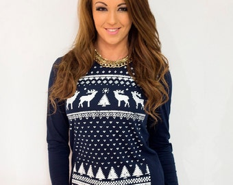 Women's Retro Reindeer Long Sleeve T-shirt - Alternative to a Christmas Jumper, Xmas Holidays Ugly Sweater - Navy