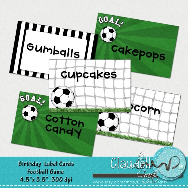 Football Soccer Game Printable Label Cards Blank / Food