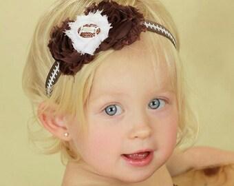 Football Headband - Baby Headband - Football Rhinestone - Baby Flower Headband - Football Hair Bow - Sports Headband