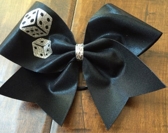 Cheer Bow - Black with Vegas Dice