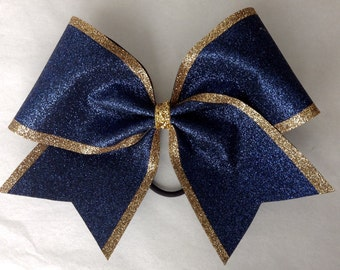 Cheer Bow - Navy Glitter with Gold Glitter Edge