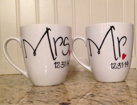 Customized Wedding Coffee Mugs : Mr And Mrs Wedding Coffee Mugs Personalized with wedding date