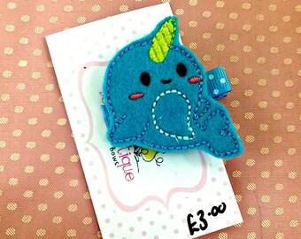 Narwhal hair clip