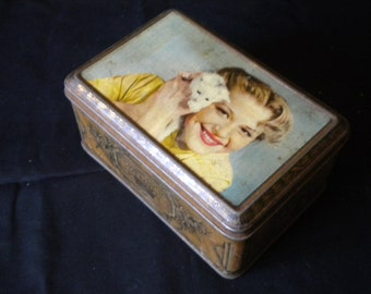Vintage 1950s Tin Box Made in France Woman with Kitten