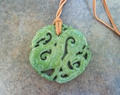 Large Vintage Chinese Zodiac Jade Dragon Double Sided Hand Carved Pendant/Necklace with Leather Cord