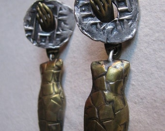 Sterling Silver and Brass One of a Kind Urn Earrings with coins and hands
