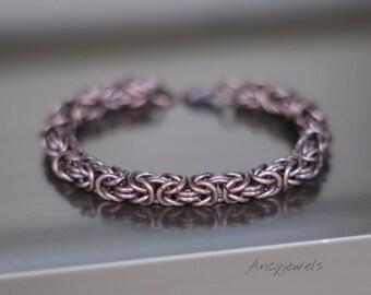 Copper bracelet, Chainmaille bracelet, Bracelet byzantine pattern, Byzantine jewelry