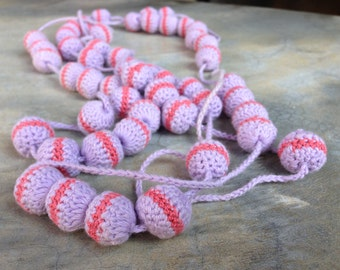 Vintage 1.2 meters length Handmade Knitted Necklace with Knitted Beads Crocheted balls Hand Crafted