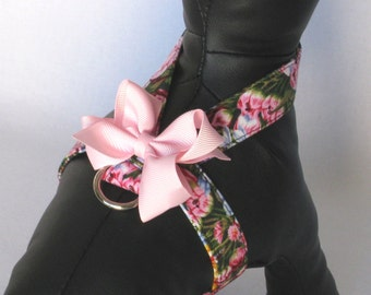 Tiny Harness with Pink Flowers for Chihuahua Yorkie and other small dog breeds and cats in size XXS to M