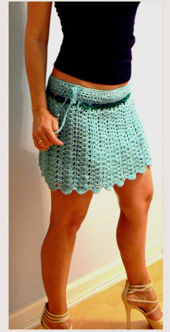 Aqua crochet mini skirt -Women summer crochet skirt- Blue aline short skirt- Festival crochet skirt- Boho sexy skirt- Short crochet skirts