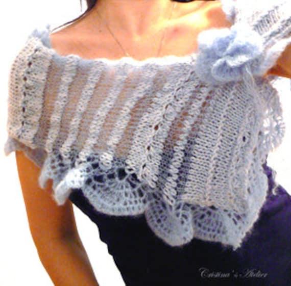 Jellyfish blue knitted mohair shawl/ Women knitted elegant scarf/ Fashion wedding blue knitted shawl/ Knitted blue mohair shrug/ Blue scarf