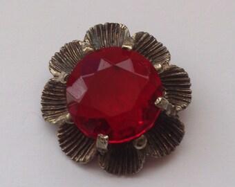 Vintage red stone brooch