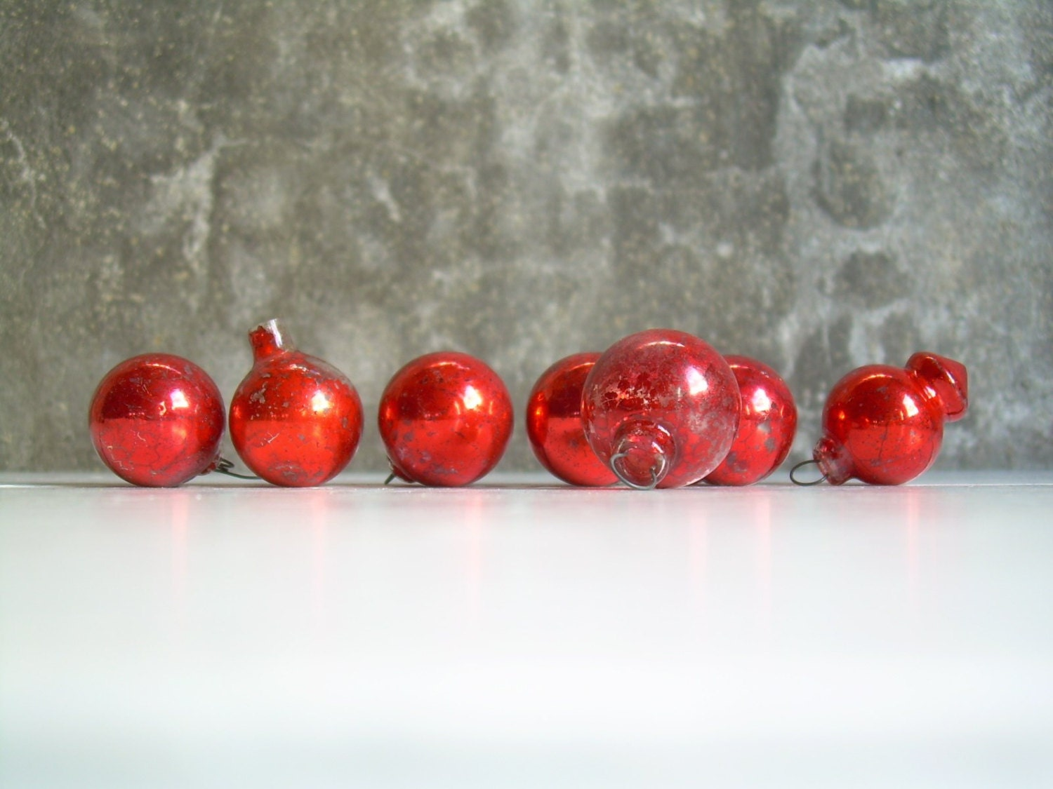 Sale Vintage Distressed Glass Christmas Ornaments Rich Red One