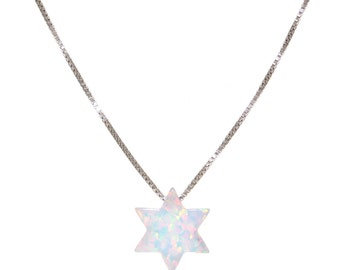 Silver Opal Star of David Necklace 41553
