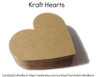 Set of 50, 100, 150 - Large Kraft Hearts - Embellishments/Die Cuts/Paper/Tags/Wedding/Gift