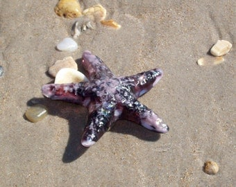 Purple Starfish Fused Glass kiln casted- home decor, beach, paperweight