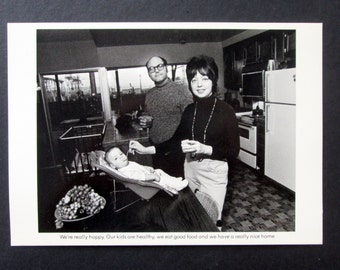 Bill Owens Postcard from 'Suburbia' Happy Family Black and White Vintage