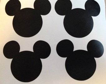 12 black 2 inch Mickey Mouse head vinyl stickers