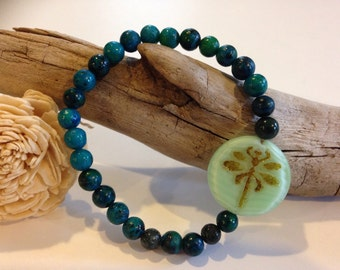 Stretch Bracelet, Green, Blue, Dragonfly Accent, Bohemian, Gifts for Her, Christmas Gifts, Anniversary Gifts, Birthday Gifts