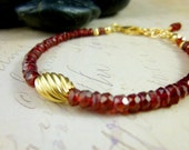 Garnet & Gold Bracelet, Red Garnet Stacking Bracelet, January Birthstone, 14k Gold Fill, Chakra Energy Jewelry