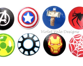 Avengers Hand Painted Drawer Knob, Superhero Drawer Pull, Superhero Decor