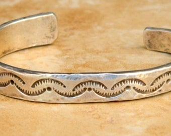 Old Pawn Navajo Ignot Sterling Silver Native American Heavy Cuff Bracelet 1960's