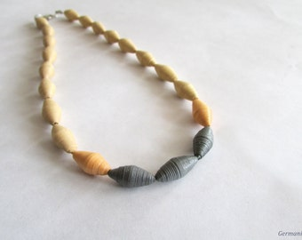 Ombre Pastel Paper Bead Necklace, Quilled Paper Necklace, Eco friendly Jewelry, Beaded Necklace, Statement Paper Quilled Jewelry