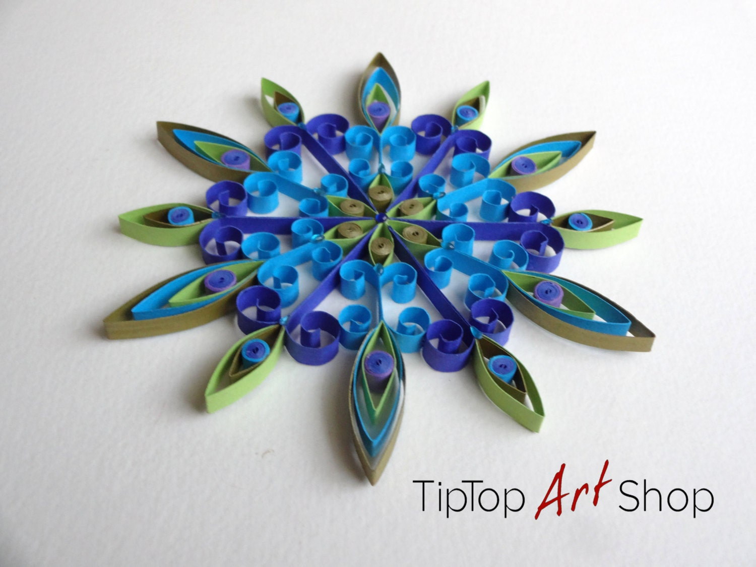 Quilled Christmas Ornament Handmade Paper by TipTopArtShop