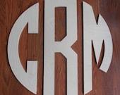 "Wood Monogram 12"" Wood Letter Door Wreath Decor Wedding Gift Boys Room Personalized Wooden Wall Decor Unfinished Wood Monogram"