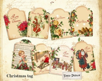 Vintage Tags - digital collage sheet - set of 8- Printable - Download - Scrapbooking - Greeting cards