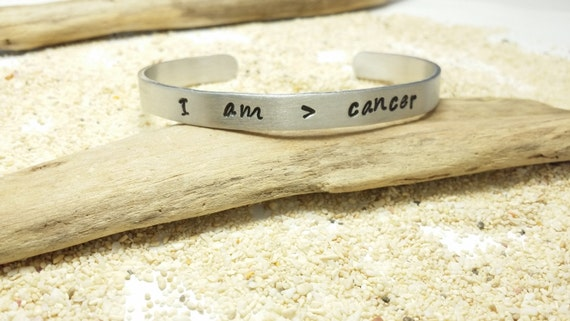 I am greater than cancer... Inspirationl, Meaningful, Personal Message Cuff Bracelet, Aluminum Hand Stamped Cuff Bracelett