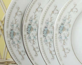 Dinnerware, Bread and Butter Plates, Dessert Plates, Blue Pattern, Antique Dishes, Teaparty Dishes, Set of 4, Diane