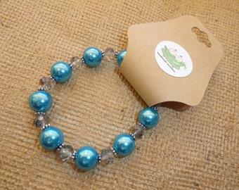 Aqua Beaded Stretchy Bracelet